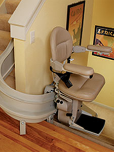 indoor curved stair lift device